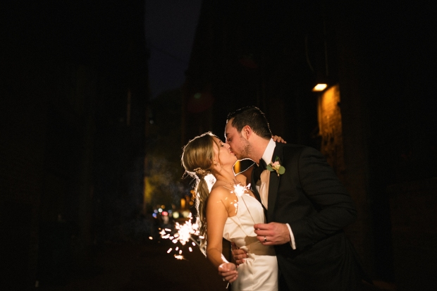 Axis Pioneer Square Wedding in Seattle | Sparkler exit in the back alley of Axis Pioneer Square | Perfectly Posh Events, Seattle Wedding Planner | Roland Hale Photography