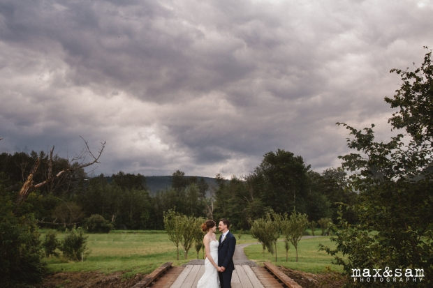 The Lodge at Fall City Wedding in Seattle, WA | PNW landscape with gray skies for wedding day portrait | Perfectly Posh Events, Seattle Wedding Planner | Max & Sam Photography