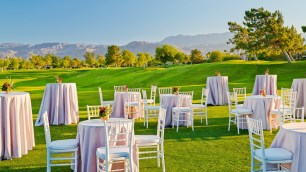 The Westin Misson Hills Golf Resort and Spa, Palm Springs wedding   cocktail tables on golf course   Perfectly Posh Events, Seattle and Portland Wedding Planner