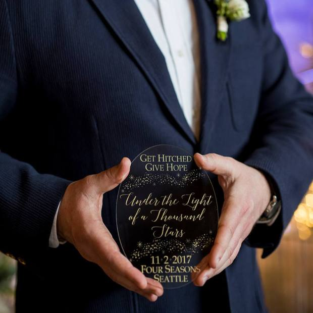 Get Hitched, Give Hope 2017   GHGH sign   The Four Seasons Seattle   Perfectly Posh Events, Seattle and Portland Wedding Planner